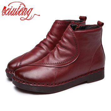 Xiuteng 2018 New Soft Bottom Women's Short Ankle Boots Cow Leather Casual Flat Embroidered Women's Cotton Boot Autumn/Winter