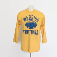 Vintage 70s FOOTBALL Jersey / 1970s Warriors T-Shirt Tee Shirt L