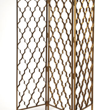Quatrefoil Gold Metal Indoor Screen