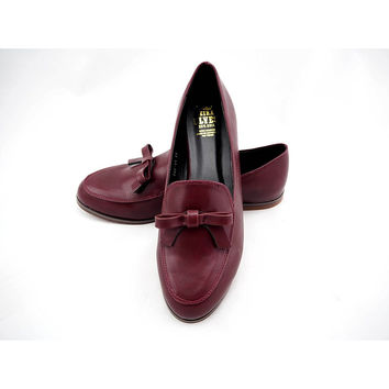 Amber Red Loafers with Feminine Bow