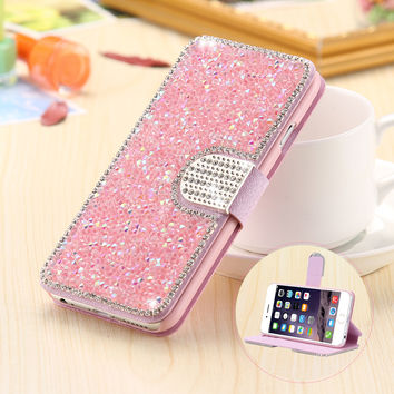 Bling Diamond Case For iPhone 5 5S SE Fashion Rhinestone Glitter Wallet Flip Leather For iPhone 7 6 6S Plus 5 Mobile Phone Cover