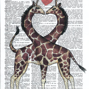 Giraffe Poster, Art Print, Illustration, Acrylic Painting, Animal Painting, Wall Decor, Wall Hanging, Wall Art,Print on Dictionary Paper