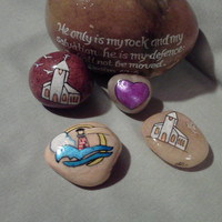 Hand Painted Hand Made OOAK Scripture Rocks Small Prayer Stones Pocket Rock Various Choice Lighthouse or Church or Heart