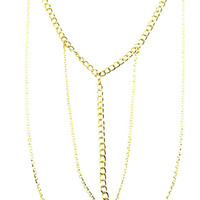 NECKLACE / LAYERED / MULTI CHAIN / LINK / 16 INCH LONG / 5 INCH DROP / NICKEL AND LEAD COMPLIANT