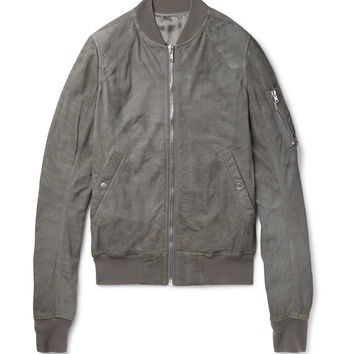 Rick Owens - Flight Slim-Fit Blistered-Leather Bomber Jacket
