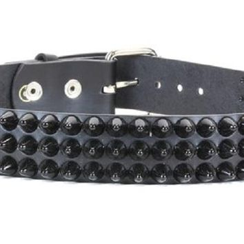 "3-Row Black 1/2"" Dome Cone Head Studded Black Leather Belt 1-3/4"" Wide"