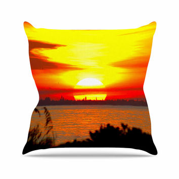 "Philip Brown ""Sunrise On Sanibel"" Coral Gold Throw Pillow"