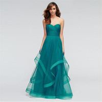 Fashion Turquoise Prom Dresses Ruffles 2017 Vestido de festa A Line Sweetheart Ruffles Prom Party Dress Pleats Formal Gowns