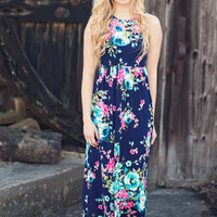 Flirting with Floral Maxi Dress - Navy