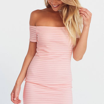 Silence + Noise Shadow Striped Off-The-Shoulder Bodycon Dress   Urban Outfitters