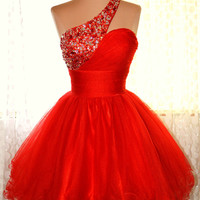 Charming Hot Red A-line One-shoulder Mini Prom Dress/Homecoming Dress