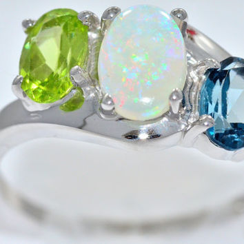 2 Carat Genuine Opal Peridot London Blue Topaz Oval Ring .925 Sterling Silver Rhodium Finish White Gold Quality