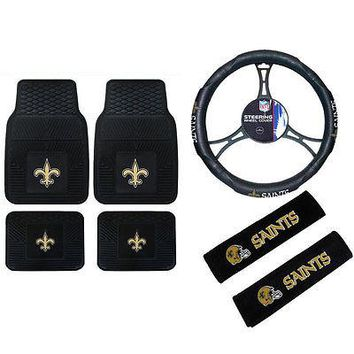 Licensed Official NFL New Orleans Saints Car Truck Floor Mats Steering Wheel Cover Seat Belt Pads
