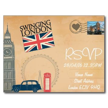 London Themed Wedding RSVP Invitation with Photo Postcard
