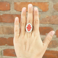Cross stitch ethnic ring with Ukrainian ornament by skrynka