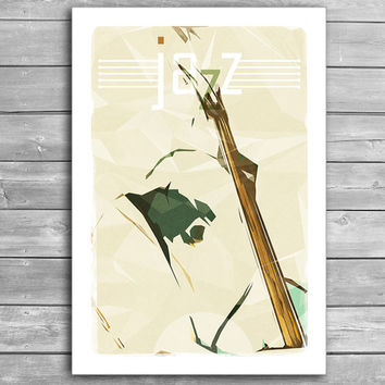 Contrabassist, Jazz Poster, Music Poster, Jazz Print, Music Prints, Jazz, Club Decor, Art Print, Design Print