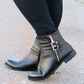Take A Stroll Ankle Booties ~ Black