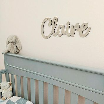 Custom Baby Nursery Name Sign Wooden Baby Sign Hanging Wall Sign Wood 18""