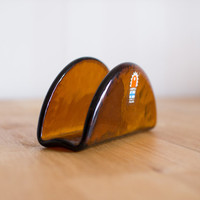 Humppila Finnish Glass Serviette Holder in Amber Retro