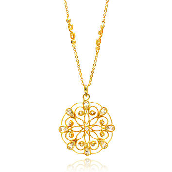 .925 Sterling Silver Rose Gold Plated Wire Design Pendent Cubic Zirconia Inlay Necklace 18 Inches