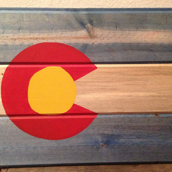Colorad flag, Rustic Colorado State Flag wooden sign, Beetle kill, State of Colorado, Dyed rustic wooden state flag, Flag wall hanging