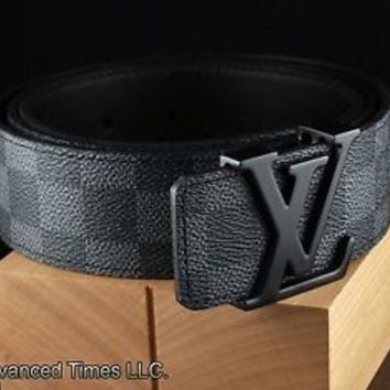 LOUIS VUITTON Damier Graphite Black & Gray Canvas Belt 100 cm Fits 34-36 Waist
