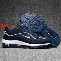 NIKE AIR MAX 98 Trending Women Men Casual Breathable Running Sneakers Sport Shoes Blue I