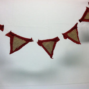 Texas handmade bunting flag banner, folk art birthday party banner burlap sacks with cherry red triangles, country decor
