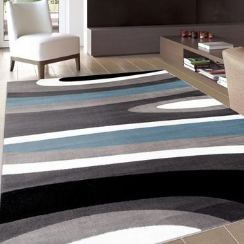 Abstract Contemporary Modern Blue Area Rug (5'3 x 7'3) | Overstock.com Shopping - The Best Deals on 5x8 - 6x9 Rugs