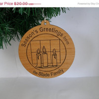 Christmas in July Sale Personalized Season's Greetings ornament wood engraved candles Christmas gift