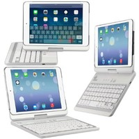 CoverBot iPad Mini 3, iPad Mini Retina Display and iPad Mini Keyboard Case Notebook Station WHITE For 7.9 Inch Mini iPad with IOS Commands. Folio Style Cover with Special Landscape Turning Function