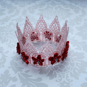 White Lace Crown with silver glitter and flowers ,Newborn Crown, Photo Prop, Maternity Prop, Birthday Crown, Holiday Crown, Princess Crown