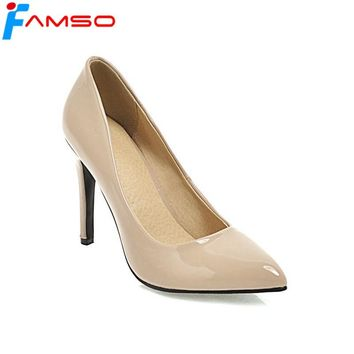 FAMSO Size34-43 2018 New Spring Autumn High Heels Shoes Black red Nude Prom  Shoes 09b71c38e