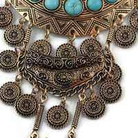 Tribal Teal Necklace in Bronze