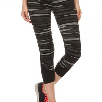 Striped Yoga Capri Women's Leggings