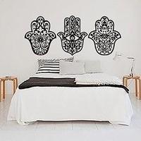 Hand Wall Decals Yoga Fatima Hamsa Indian Buddha Ganesh Decal Lotus Vinyl Sticker Bedroom Decor Home Interior Design Art Mural MN953