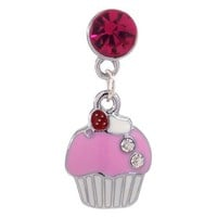 1x Cupcake with Rhinestone Accents Dust Proof Dust Plug iPhone Speaker Plug Plugy