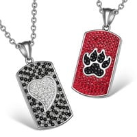 Heart and Wolf Paw Austrian Crystal Love Couples Best Friends Dog Tag White Cherry Red Black Necklaces