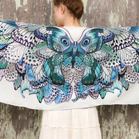 Women scarf, Hand painted Butterflies in Blue Aqua tones, stunning unique and useful, perfect gift