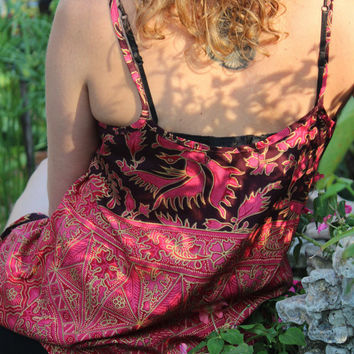 Balinese Batik Womens Camisole Top Pink & Salmon Strappy Tank Top Summer Cami Swing Top
