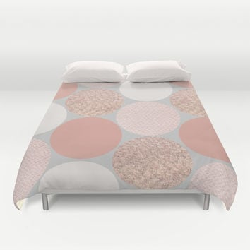 Rose Gold Dots Duvet Cover by Georgiana Paraschiv