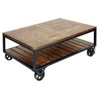 Two Tier Industrial Trolley Wheel Coffee Table - Dark Bronze Powder Coat - Stylecraft