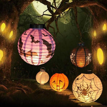 Halloween Decoration LED Paper Pumpkin Ghost Light Hanging Fold Lantern Lamp Halloween Props Outdoor Party Supplies