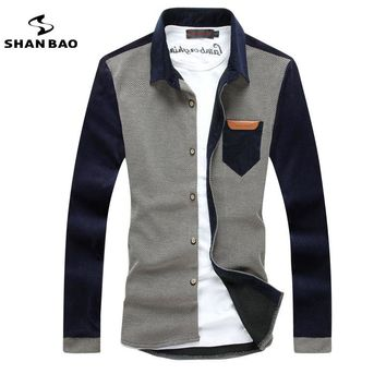 SHAN BAO brand clothing casual corduroy shirt stitching autumn and winter high-quality men's casual long-sleeved shirt