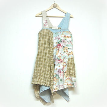M/L Artsy Shabby Chic Jumper Smock Dress, Upcycled Clothing, Lagenlook, Mori Girl, Eco Earth Friendly, Anthropologie Inspired