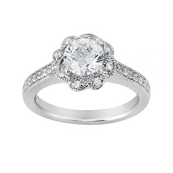 Cherish Always Round-Cut Diamond Flower Engagement Ring in 14k White Gold (1 1/7 ct. T.W.)