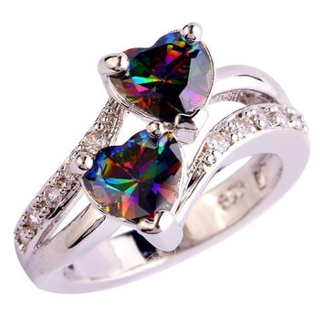 Fashion Lover Jewelry Heart Cut Rainbow & White Topaz Gemstone Silver Ring