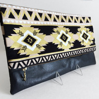 Foldover Clutch, Southwest Clutch, Aztec Clutch, Zippered Handbag, Fabric Handbag, Ipad Case, Gift For Her