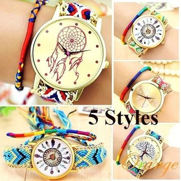 Weave Dreamer Elephant Feather Heart Life Tree Weave boWatches Bohemia Ethnic Wristwatch