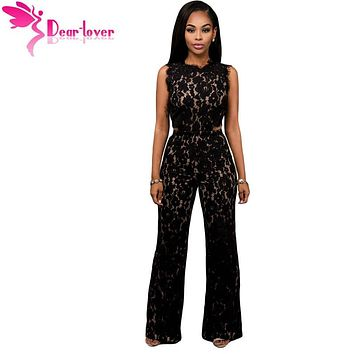 Dear Lover sexy rompers for women Black Lace Nude Illusion Back Cutout Jumpsuit Macacao Feminino Longo Combinaison Femme LC64117